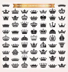 Crown icons heraldic big set vector