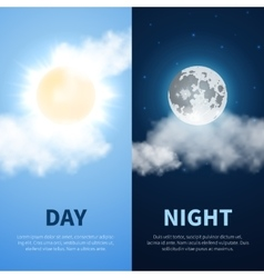 Day and night time concept background with vector image vector image