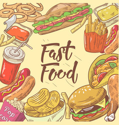 fast food hand drawn design with burger hot dog vector image vector image