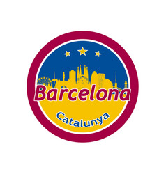 barcelona city skyline silhouette in round vector image vector image