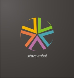 Colorful star logo elements vector image vector image