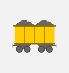 flat style yellow mining transport train graphic vector image vector image