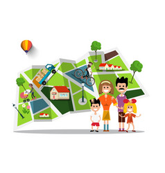 happy family with city map on background flat vector image vector image