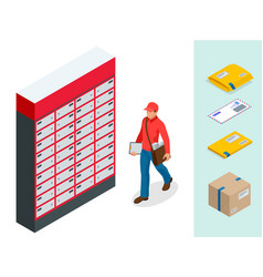 isometric set of post office postman envelope vector image vector image