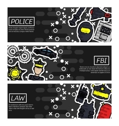 Set of Horizontal Banners about police vector image vector image