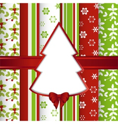 Christmas scrap book background with cut out tree vector image vector image
