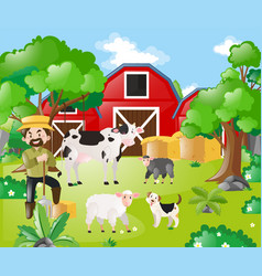 farmer and farm animals in the field vector image