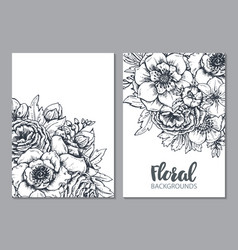 floral backgrounds with hand drawn spring flowers vector image