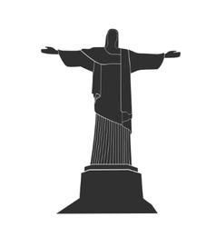 silhouette of Statue Of Christ in Rio De Janeiro vector image