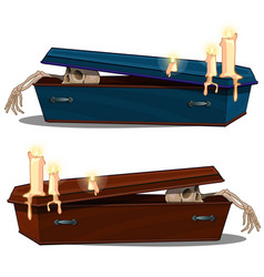 skeleton coming out of wooden coffin with candles vector image