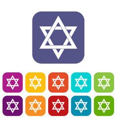 star of david icons set vector image