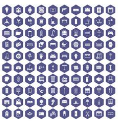 100 furnishing icons hexagon purple vector
