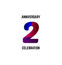 2 year anniversary celebration logo template vector