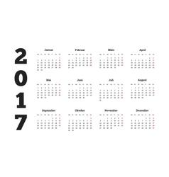 2017 year simple calendar on german language vector image