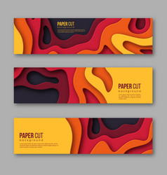 3d paper cut horizontal banners shapes with vector image