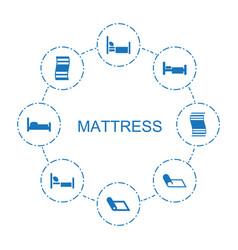 8 mattress icons vector