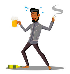Adult drunk man with glass of beer and cigar vector