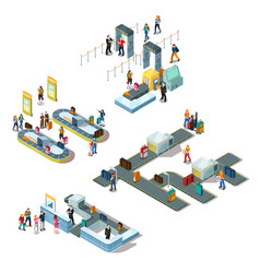 airport isometric compositions vector image