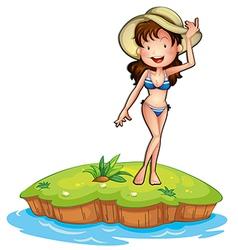 An island with a girl wearing a bikini vector image