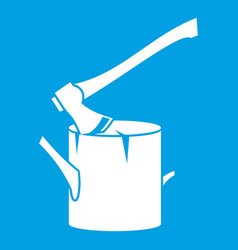 Axe stuck in a tree stump icon white vector