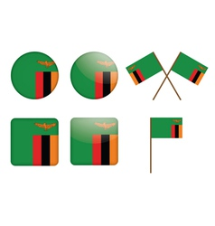 badges with flag of Zambia vector image