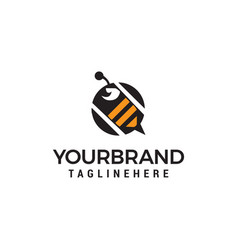 bee logo design concept template vector image