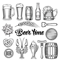 Beer and snack set vector