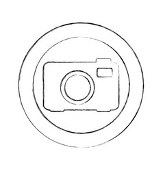 Blurred silhouette circular frame with tech camera vector