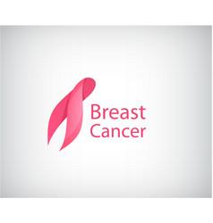breast cancer awareness pink ribbon logo vector image