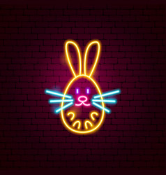 Bunny neon sign vector