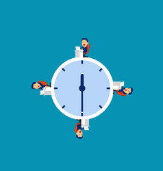 business team working at time concept business vector image