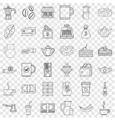 Chocolate icons set outline style vector