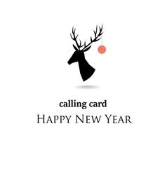 Christmas reindeer silhouette card vector