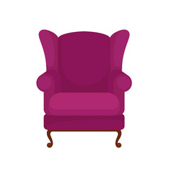 classic purple armchair with wooden legs vector image