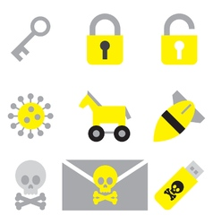 Computer network security flat icon set vector