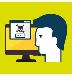 computer password silhouette vector image