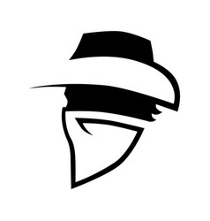 Cowboy outlaw symbol side view on white vector