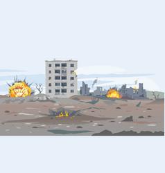 Destroyed buildings war vector