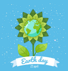 earth day planets in a stylized flower against a vector image