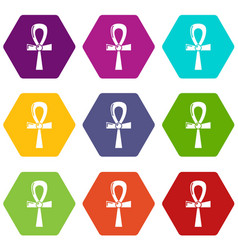 egyptian ankh icons set 9 vector image