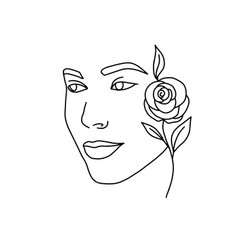 face a beautiful young woman line art 5 vector image