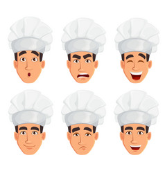 Face expressions of young professional chef man vector