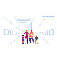 Family looking modern art gallery parents vector