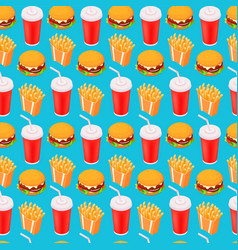 fast-food seamless isometric pattern cola vector image