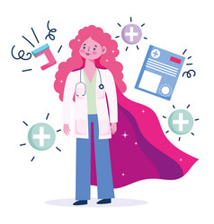 Female doctor hero woman professional staff vector