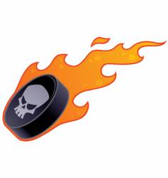 flaming hockey puck vector image