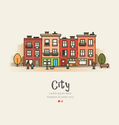 flat design modern urban landscape and city life vector image