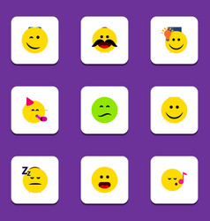 Flat icon gesture set of cheerful joy frown and vector