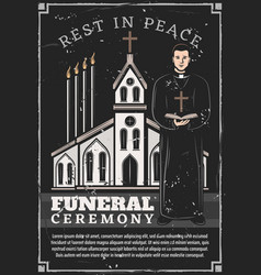 Funeral ceremony service church priest vector