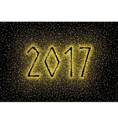 Glitter gold textured inscription 2017 vector